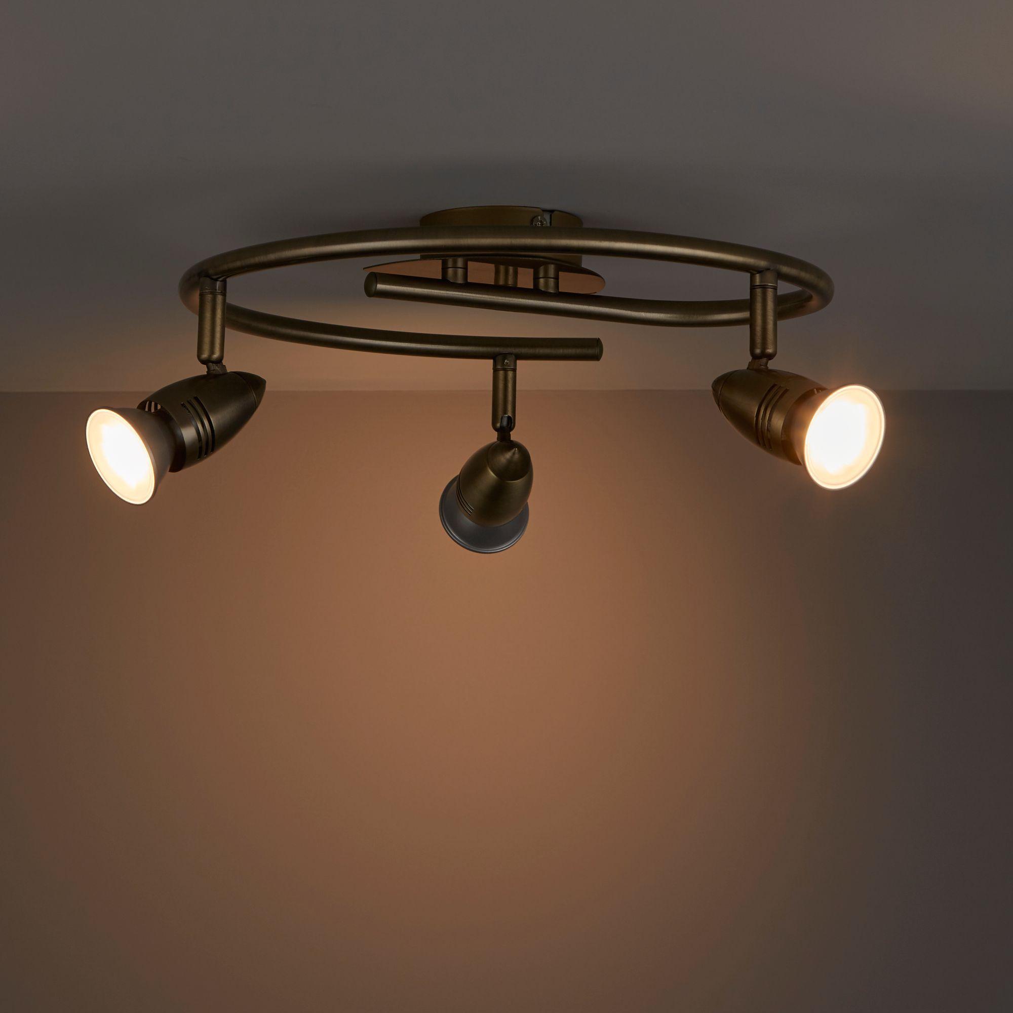 Aspis Antique brass effect 3 Lamp Spotlight