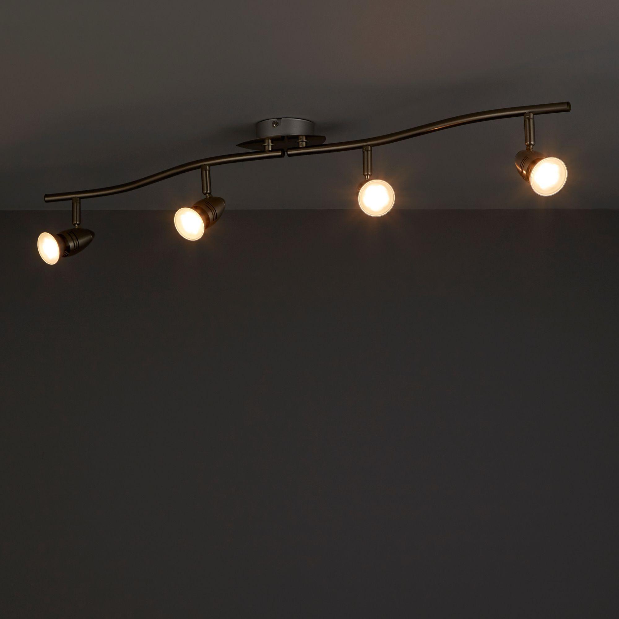 Aspis Satin chrome effect 4 Lamp Spotlight