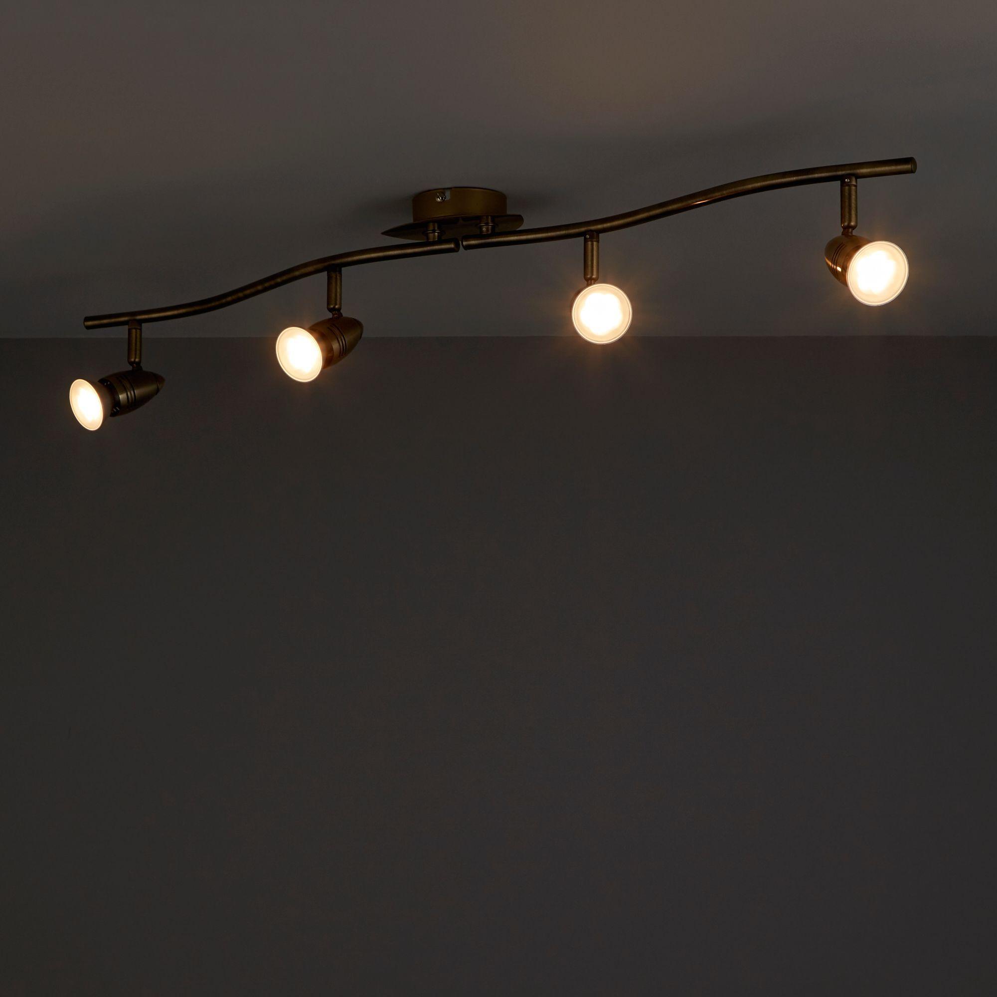 Aspis Antique brass effect 4 Lamp Spotlight
