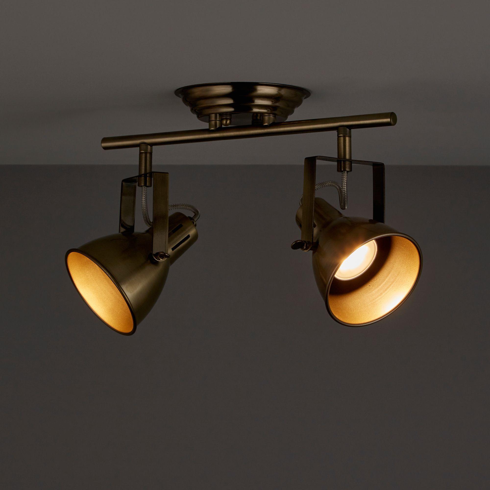 Asterion Antique brass 2 Lamp Spotlight