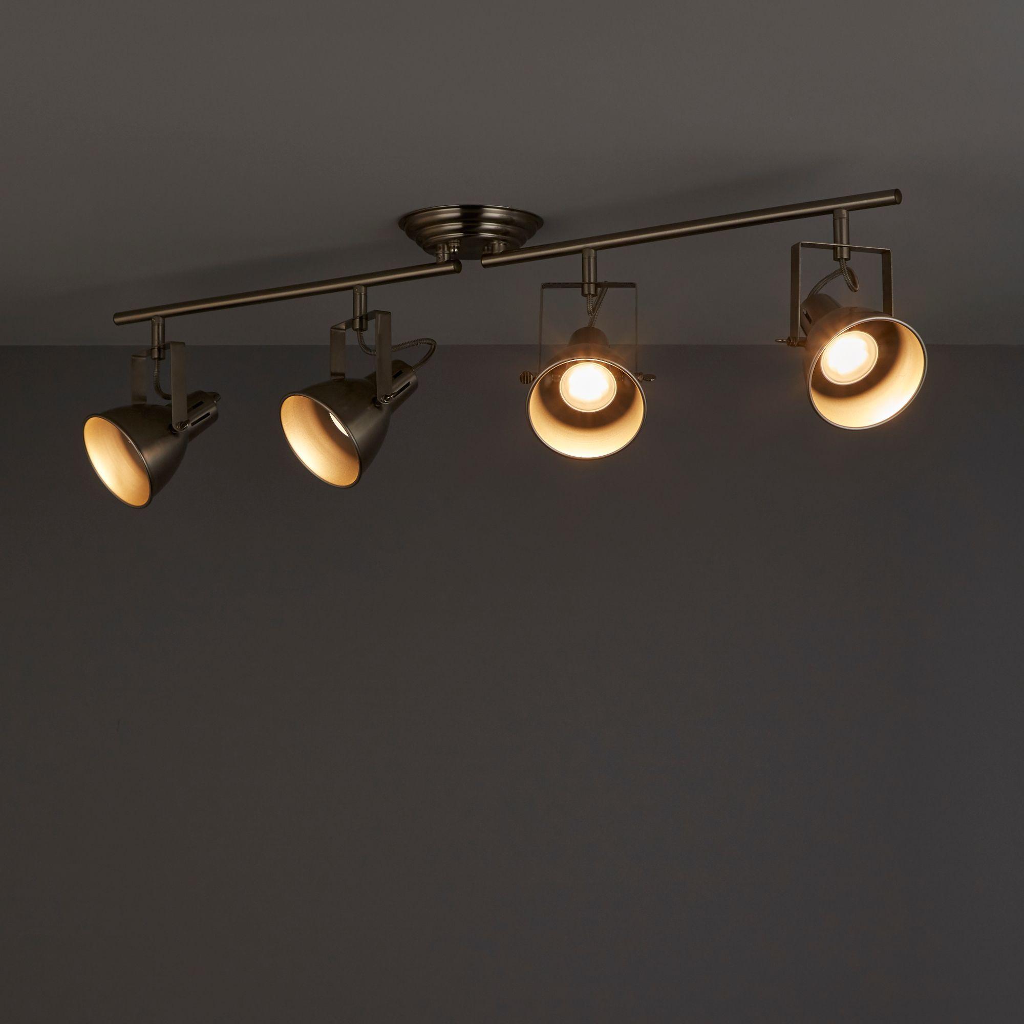 Asterion Satin chrome effect 4 Lamp Spotlight