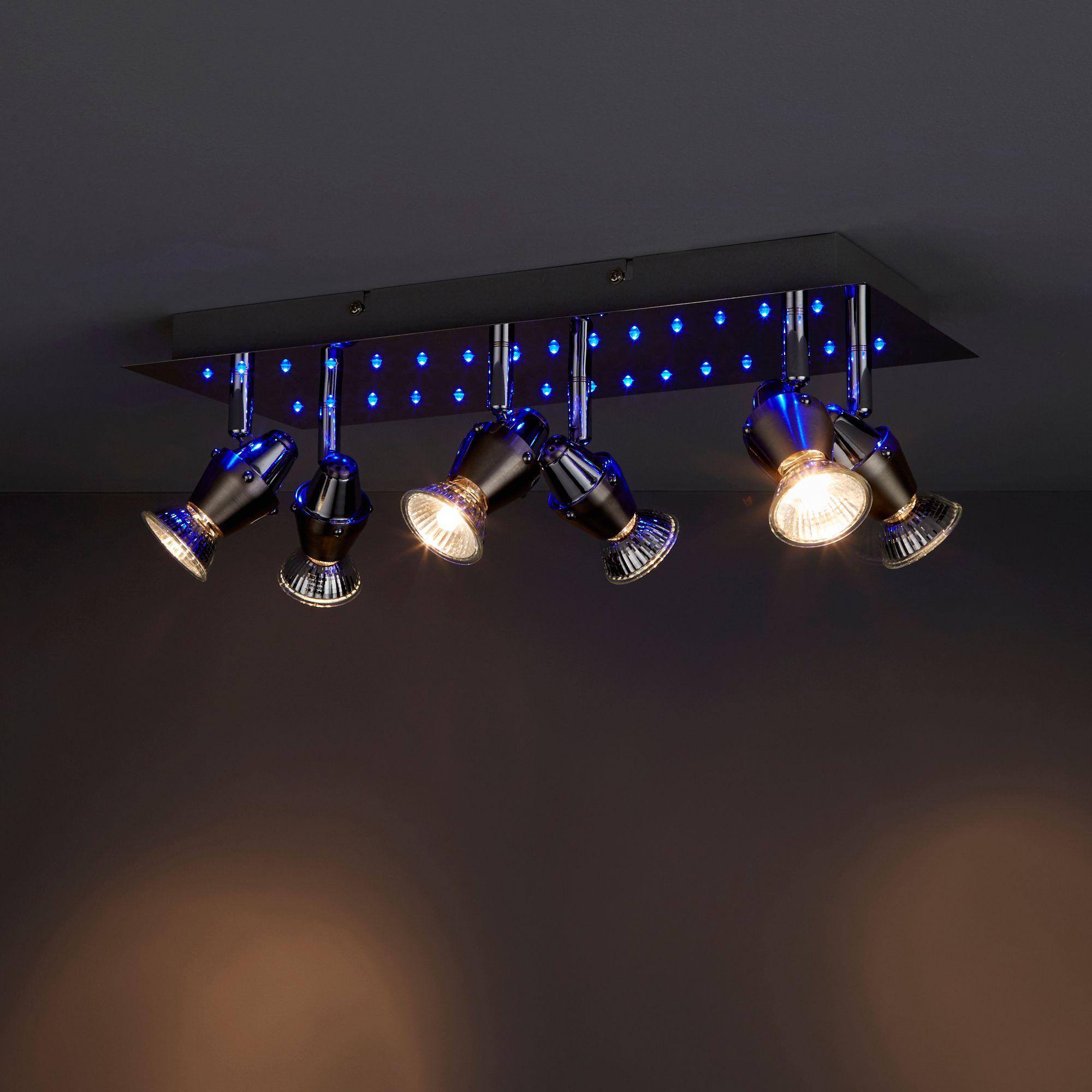 Ceraon Brushed chrome effect 6 Lamp Spotlight