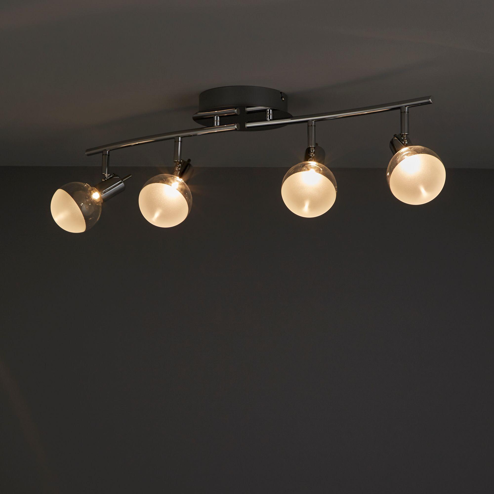 Panacea Chrome Effect Mains Ed 4 Lamp Spotlight Departments Diy At B Q