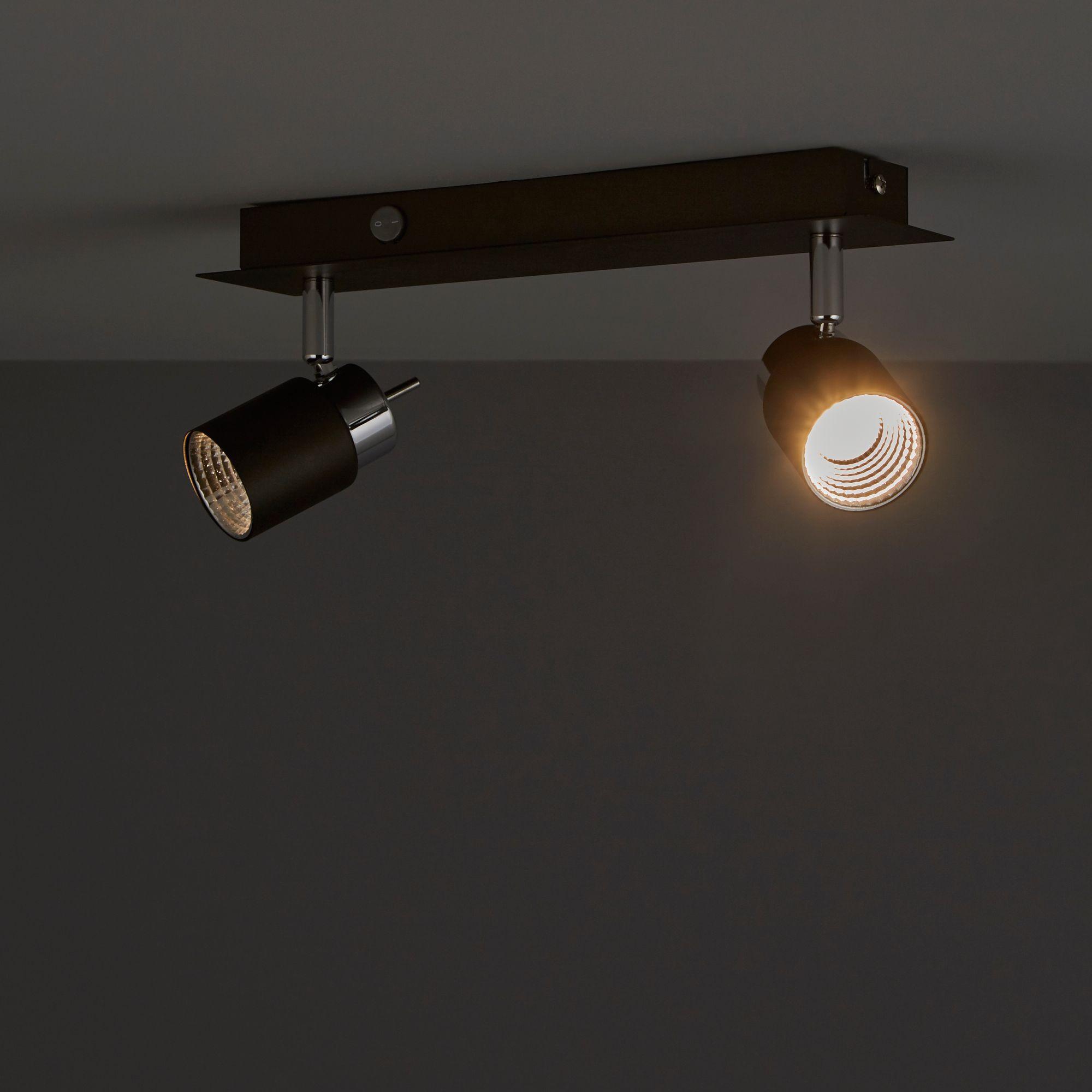 Hades Grey Chrome effect 2 Lamp Spotlight