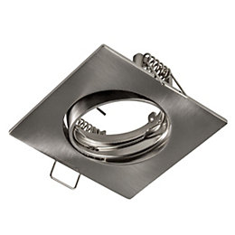 Colours Brushed chrome Adjustable Square Downlight bezel IP20