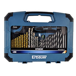 Erbauer Mixed Drill Bit Set, 100 Pieces
