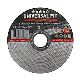 Universal (Dia)115mm Inox/metal cutting disc, Pack of 5