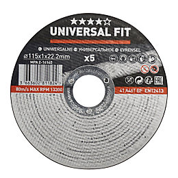 Universal (Dia)115mm Metal cutting disc, Pack of 5