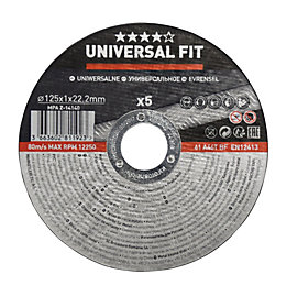 Universal (Dia)125mm Metal Cutting Disc, Pack of 5
