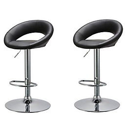 Basilio Black & Chrome Effect Bar Stool (H)954mm