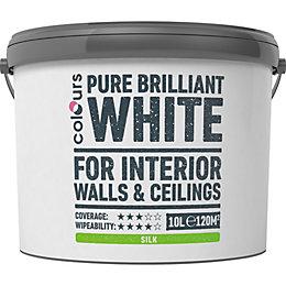Colours White Silk Emulsion paint 10 L