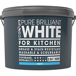Colours Kitchen White Matt Emulsion paint 2.5 L