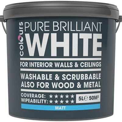 Colours Washable Scrubbable White Matt Emulsion Paint 5l Departments Diy At B Q