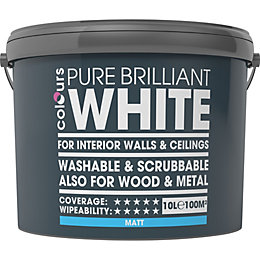 Colours Premium White Matt Emulsion Paint 10L