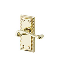 Louga Matt Polished brass effect Internal Scroll Latch