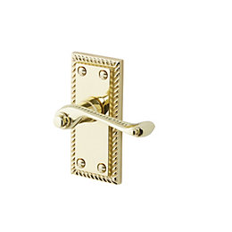 Louga Polished Brass effect Internal Scroll Latch Door
