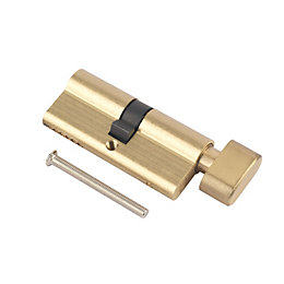 Smith & Locke Polished Brass Euro thumbturn cylinder