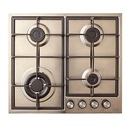 Cooke & Lewis CLGASUIT4 4 burner Grey Stainless