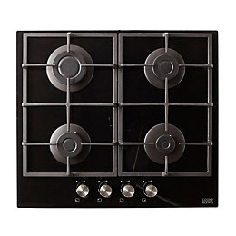 Cooke & Lewis CLGOGUIT4 4 burner Black Gas