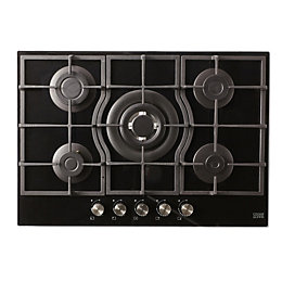 Cooke & Lewis CLGOGUIT5 5 burner Black Gas