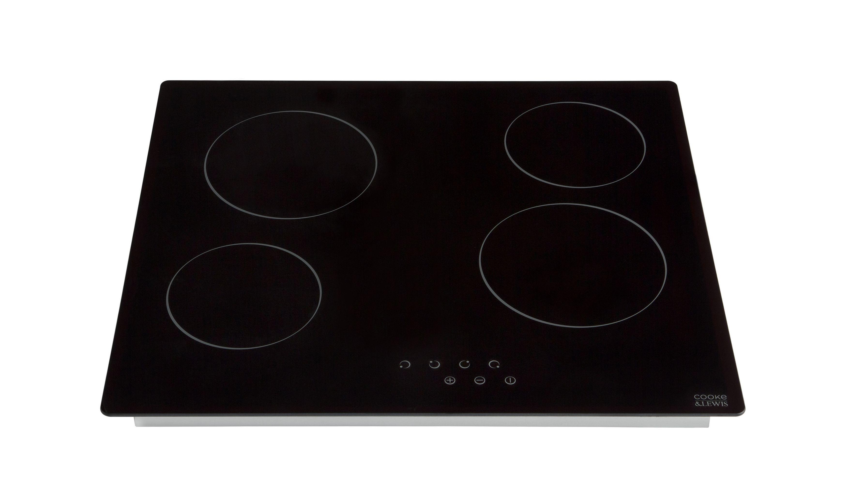 Cooke Lewis Clcer60 4 Zone Black Glass Ceramic Hob W 590mm Departments Diy At B Q