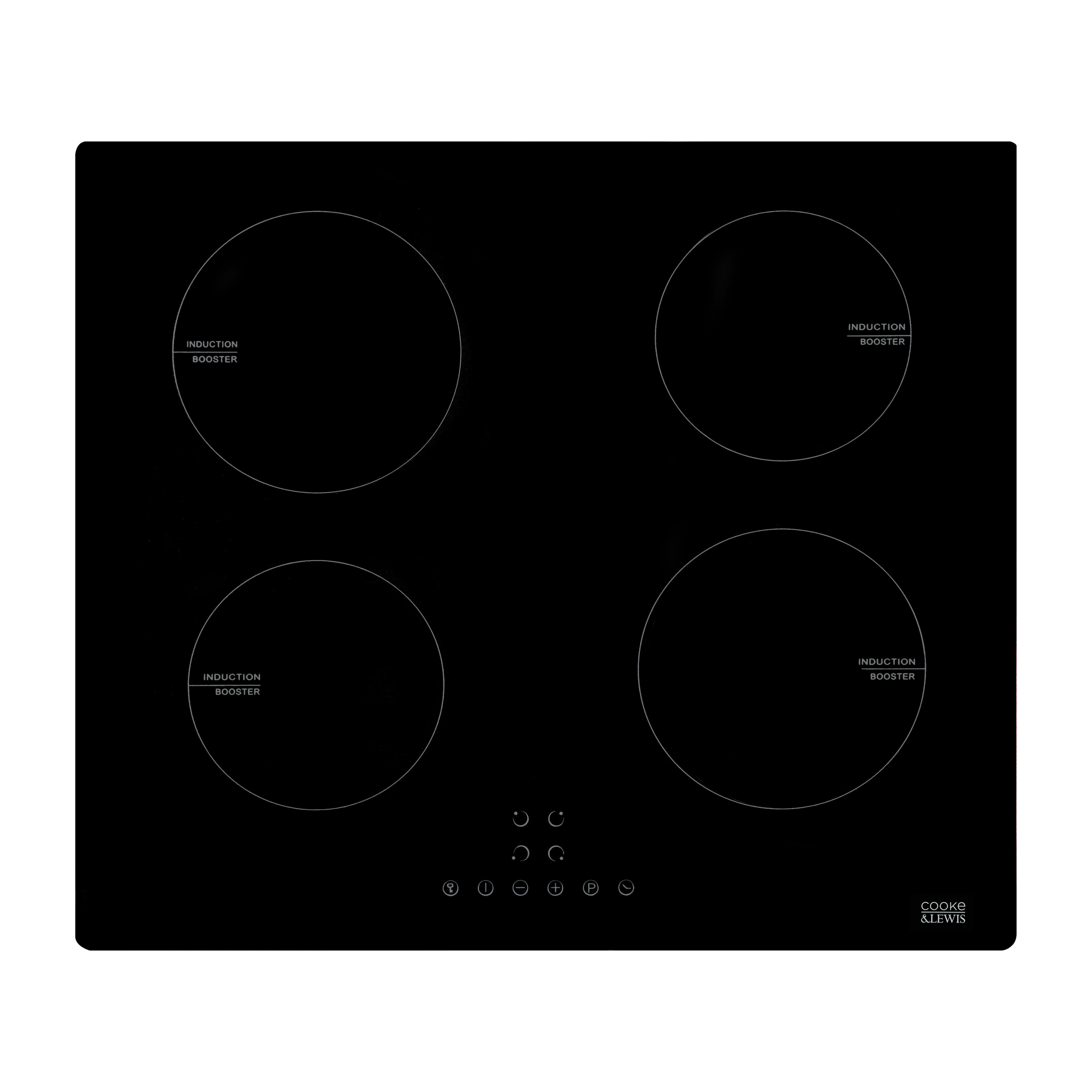 Cooke Lewis Clind60 4 Zone Black Glass Induction Hob W 590mm Departments Diy At B Q