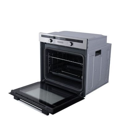 Cooke Lewis Clpyst Stainless Steel Single Pyrolytic Oven Departments Diy At B Q