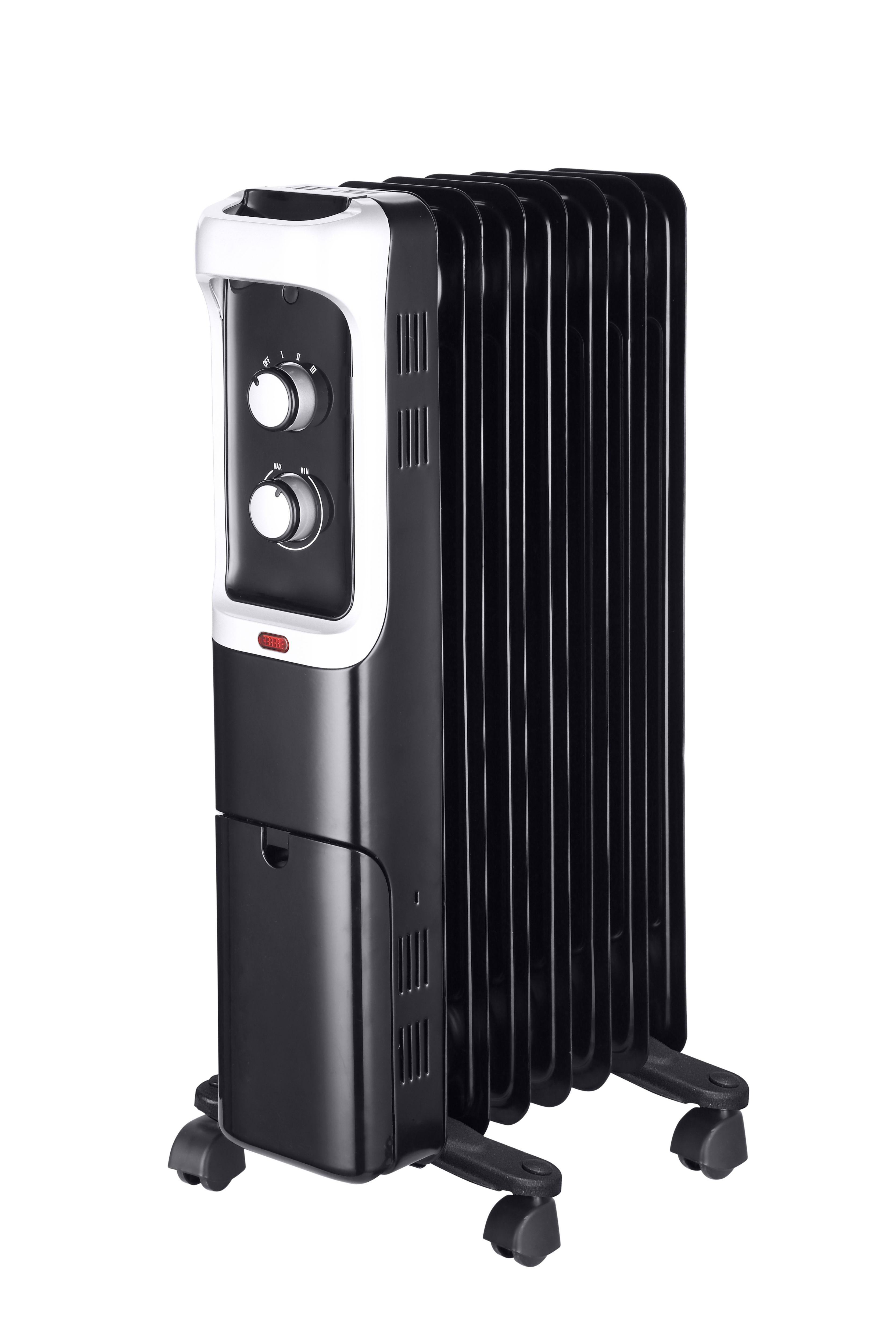 electric 1500w black oil filled portable radiator. Black Bedroom Furniture Sets. Home Design Ideas