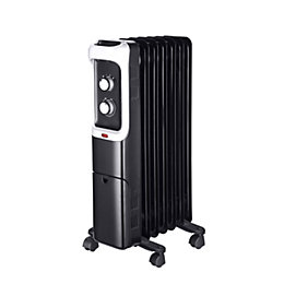 Electric 1500W Black Oil-filled portable radiator