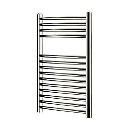 Blyss Chrome Curved ladder Radiator (H)700mm (W)400mm