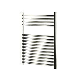 Blyss Chrome Curved ladder Radiator (H)700mm (W)600mm