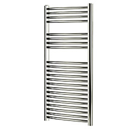Blyss Chrome Curved ladder Radiator (H)1100mm (W)450mm