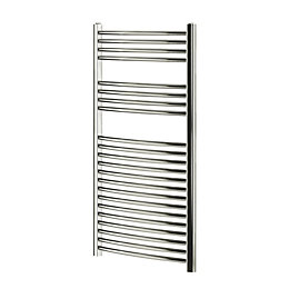 Blyss Chrome Curved ladder towel Radiator (H)1100mm (W)600mm