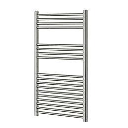 Blyss Chrome Flat ladder towel Radiator (H)1000mm (W)600mm