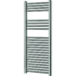 Blyss Chrome Flat ladder towel Radiator (H)1200mm (W)450mm
