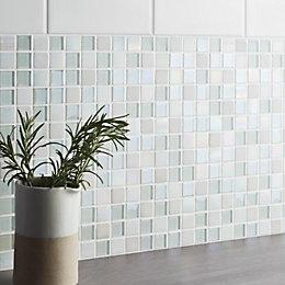 Leccia White Gloss Ceramic Wall Tile, Pack of