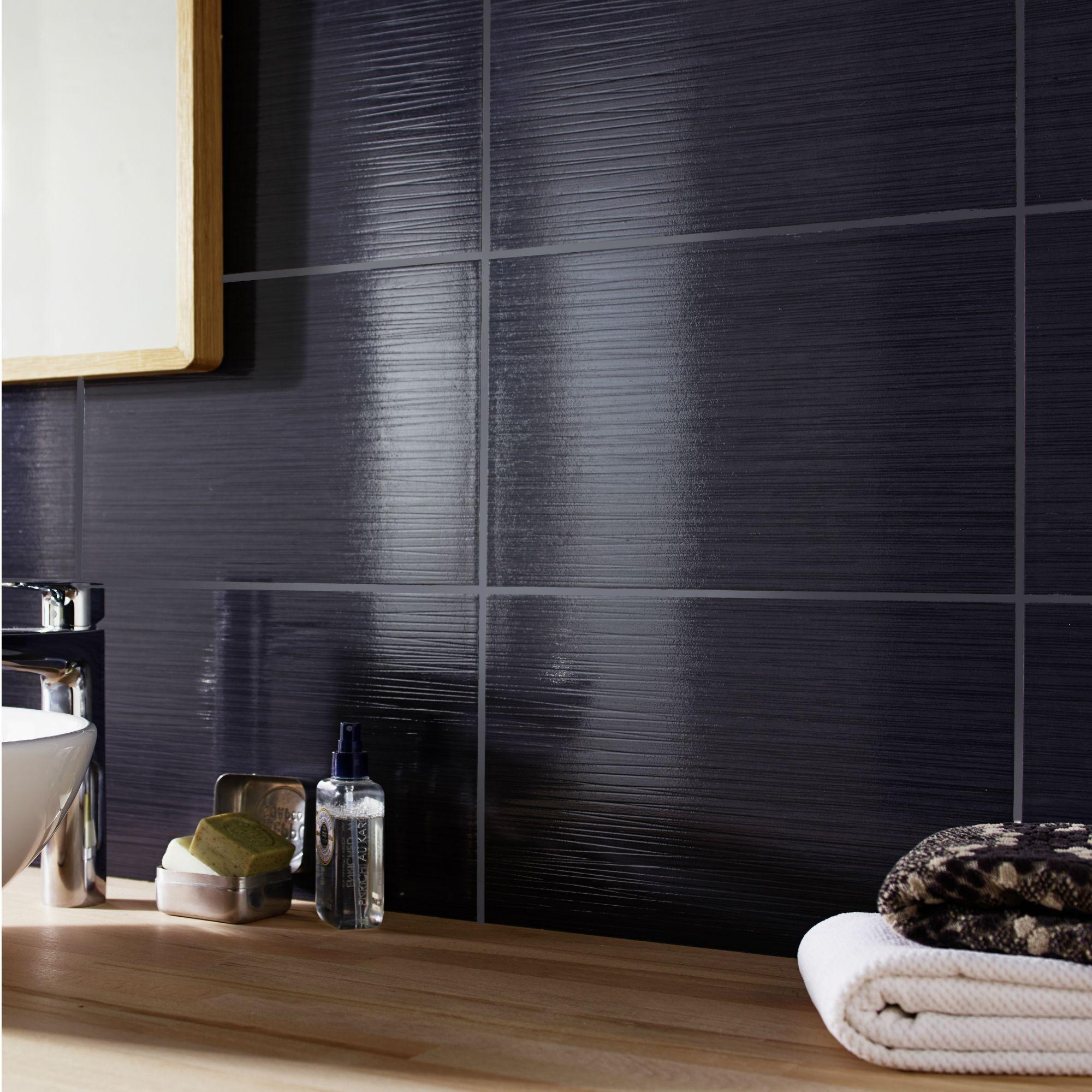 Salerna Black Gloss Ceramic Wall tile, Pack of 17, (L ...