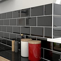 Trentie Black Gloss Ceramic Wall tile, Pack of