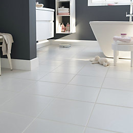 Monzie White Matt Ceramic Floor tile, Pack of