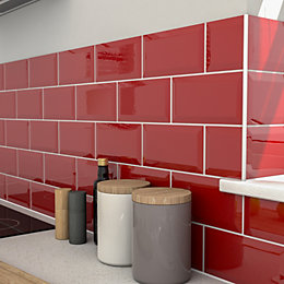 Trentie Red Gloss Ceramic Wall tile, Pack of