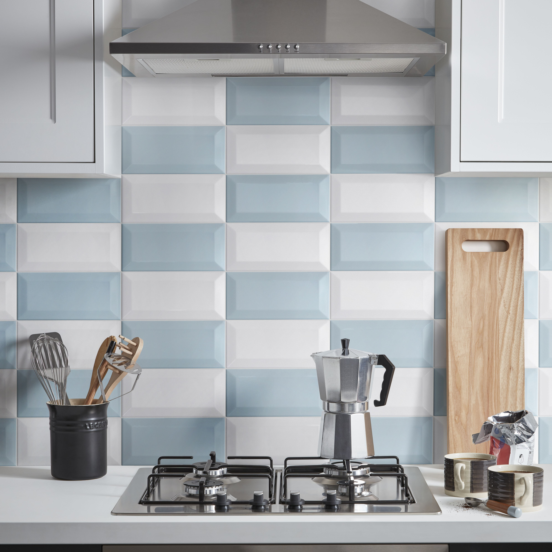 Trentie Blue Gloss Ceramic Wall tile, Pack of