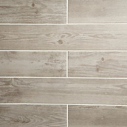Cotage wood White Wooden effect Porcelain Wall &