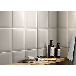 Trentie Taupe Gloss Ceramic Wall tile, Pack of