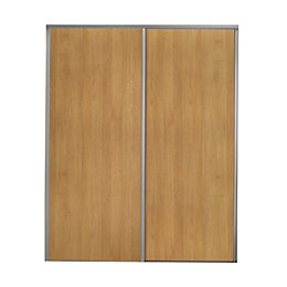 Valla Natural Oak effect Sliding wardrobe door (H)2260