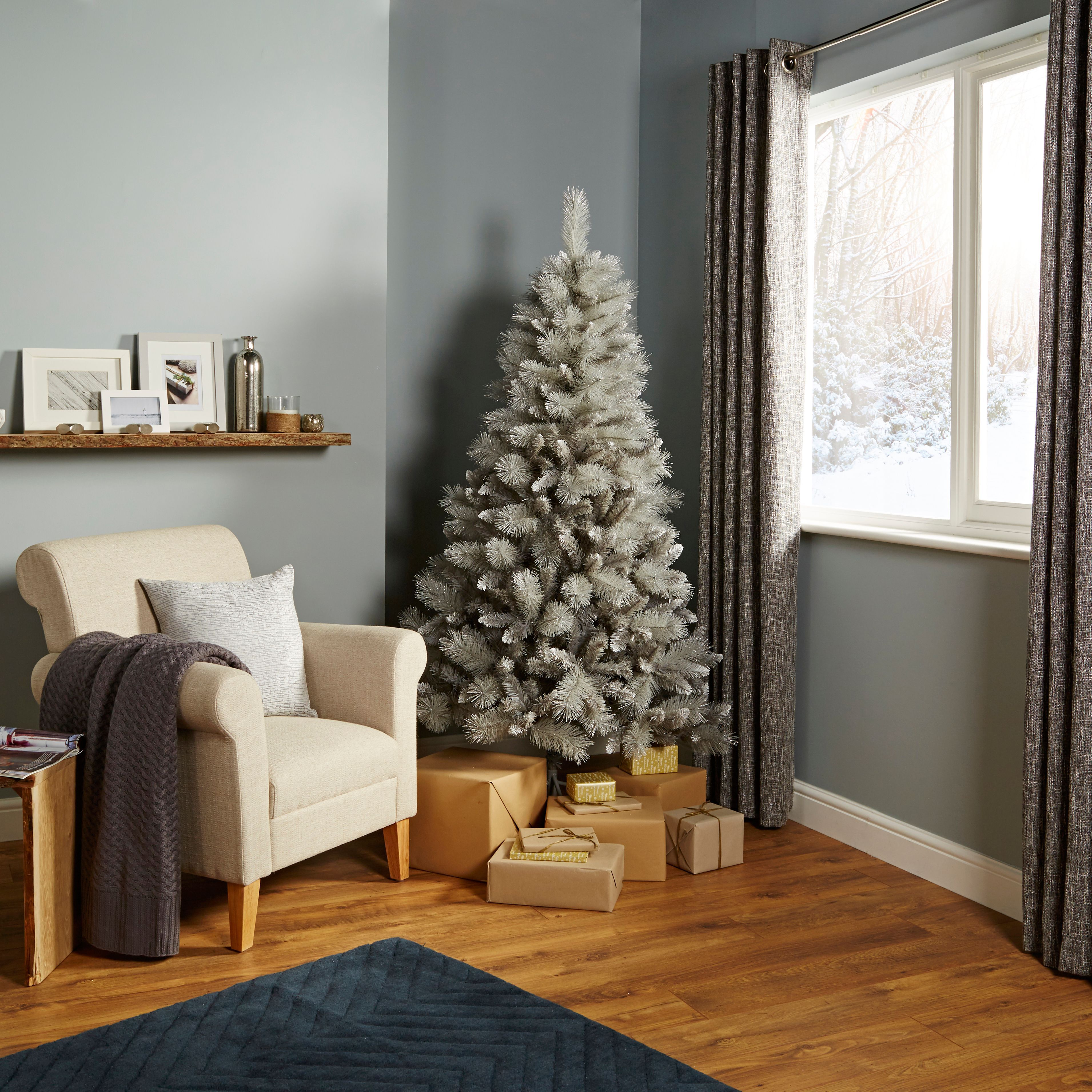 6ft Tula Silver Effect Classic Christmas Tree   Departments   DIY ...