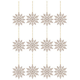 Glitter Champagne Snowflake Decorations, Pack of 12