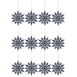 Glitter Blue Snowflake Decorations, Pack of 12
