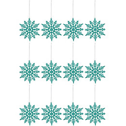 Glitter Mint Green Snowflake Decorations, Pack of 12