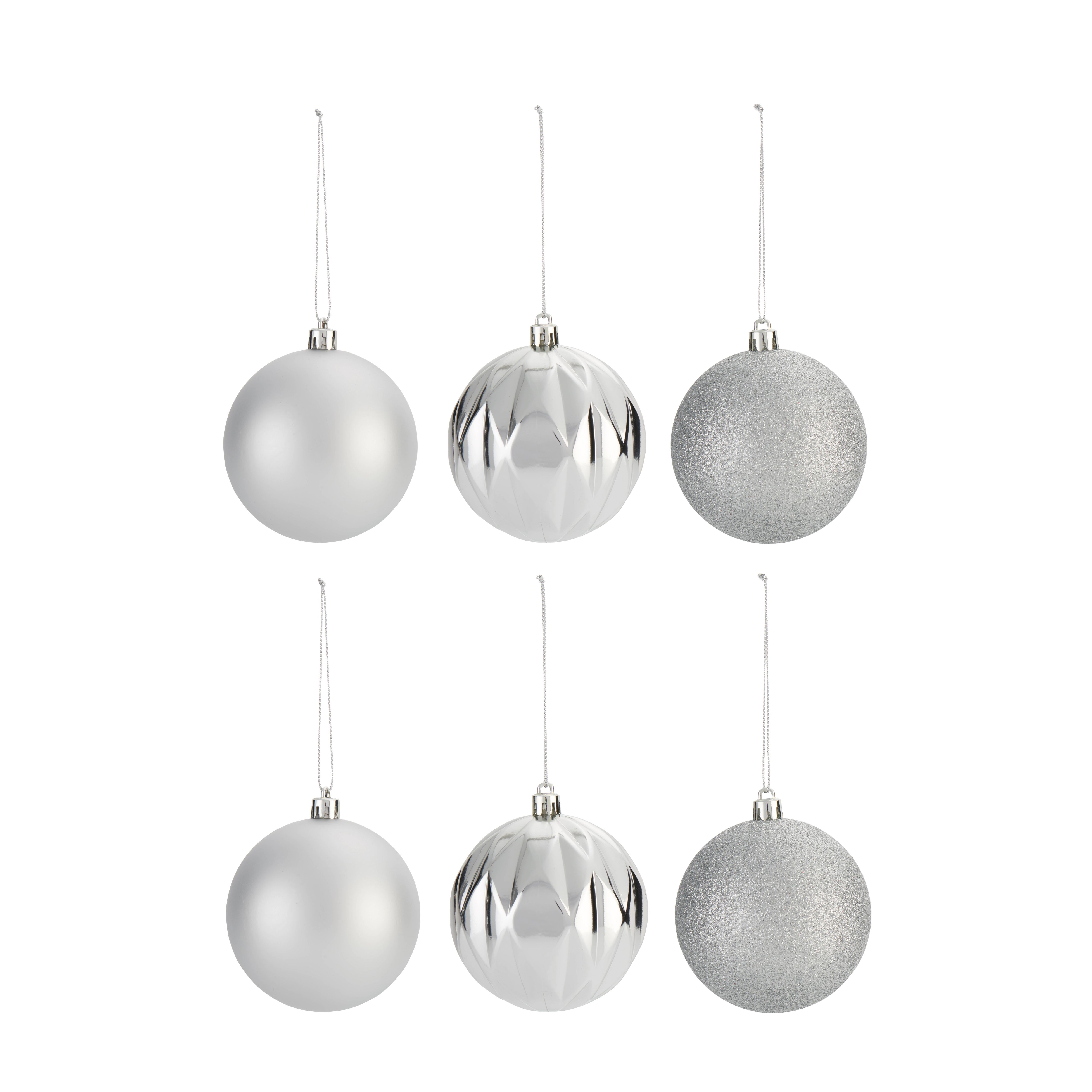 Assorted Silver Effect Baubles Pack Of 6 Departments
