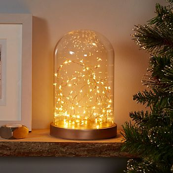 Copper wire LED light dome silhouette